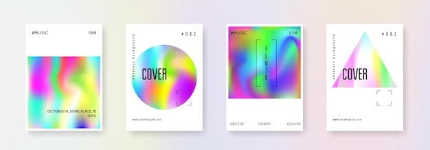 Набор голографических плакатов. абстрактные фоны. разноцветный голографический плакат с градиентной сеткой. ретро стиль 90-х, 80-х. радужный графический шаблон для плаката, презентации, баннера, брошюры.