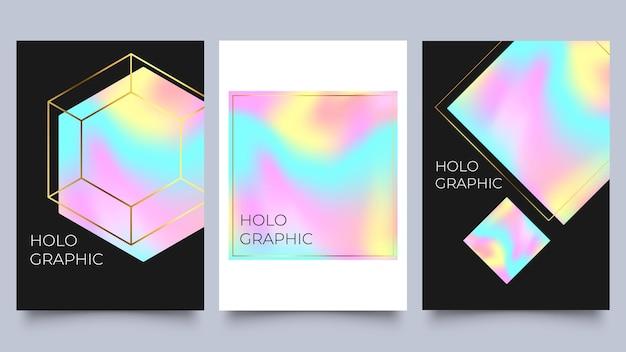 Набор голографических плакатов. спектр с градиентной сеткой и геометрическими фигурами с золотыми рамками. ретро стиль 90-х, 80-х. перламутровый шаблон для абстрактной коллекции обложки векторные иллюстрации