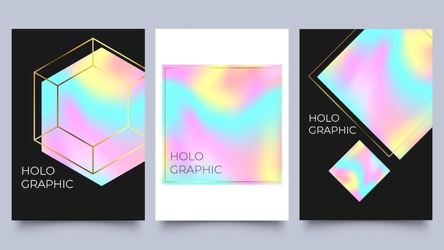 Holographic poster set. spectrum with gradient mesh and geometric shapes with gold frames. 90s, 80s retro style. pearlescent template for abstract cover collection vector illustration