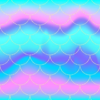 Holographic rainbow background. gold scales. mermaid print.