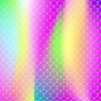 그라데이션 인어와 홀로그램 규모 배경입니다. 밝은 색상 전환. 물고기 꼬리 배너 및 초대장입니다. 여자 파티를 위한 수중 및 바다 패턴입니다. 홀로그램 스케일이 있는 스펙트럼 배경.