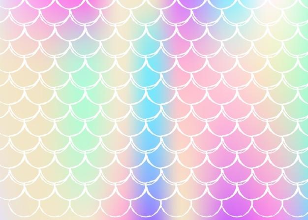 그라데이션 인어와 홀로그램 스케일 배경입니다. 밝은 색상 전환. 물고기 꼬리 배너 및 초대장.