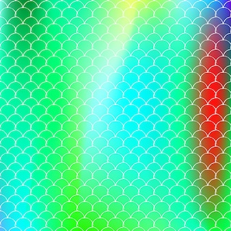 Holographic scale background with gradient mermaid. bright color transitions. fish tail banner and invitation. underwater and sea pattern for girlie party. multicolor backdrop with holographic scale.