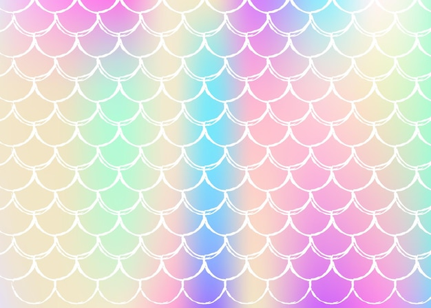 Holographic scale background with gradient mermaid. bright color transitions. fish tail banner and invitation.
