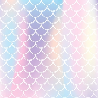 Holographic scale background with gradient mermaid.