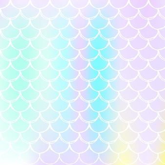 Holographic scale background with gradient mermaid