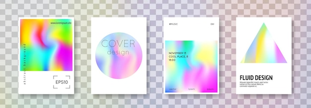 Holographic shape set. abstract backgrounds. neon holographic shape with gradient mesh. 90s, 80s retro style. iridescent graphic template for placard, presentation, banner, brochure.
