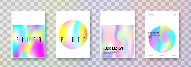 홀로그램 모양 집합입니다. 추상적인 배경입니다. 그라디언트 메쉬가 있는 스펙트럼 홀로그램 모양. 90년대, 80년대 레트로 스타일. 현수막, 프레 젠 테이 션, 배너, 브로셔에 대 한 무지개 빛깔의 그래픽 템플릿입니다.
