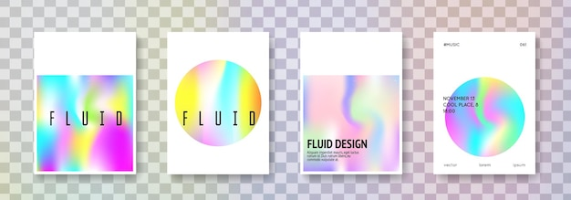 Holographic shape set. abstract backgrounds. spectrum holographic shape with gradient mesh. 90s, 80s retro style. iridescent graphic template for placard, presentation, banner, brochure.