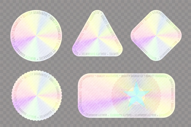 Holographic sticker for product quality guaranteed seal set