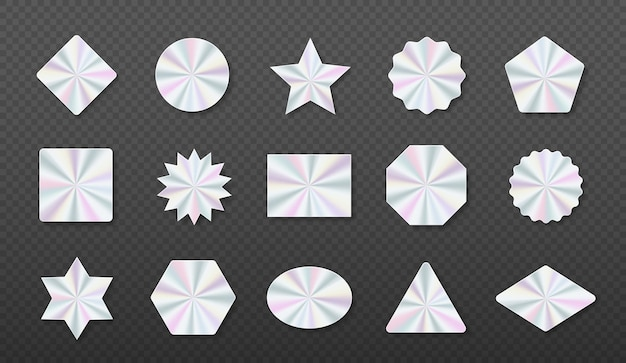 Holographic stickers hologram labels of different shapes geometric holographic label for design