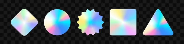 Holographic stickers. hologram labels of different shapes. sticker shapes for design mockups. holographic textured stickers for preview tags, labels. vector illustration