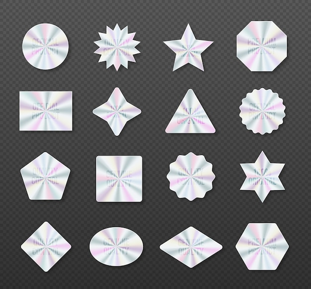 Holographic stickers hologram labels of different shapes symbol of certification product Premium Vector