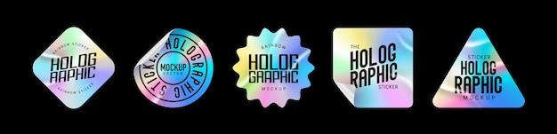 홀로그램 스티커. 다른 모양의 홀로그램 레이블입니다. 디자인 모형을 위한 스티커 모양입니다. 미리보기 태그, 라벨용 홀로그램 질감 스티커. 벡터 일러스트 레이 션