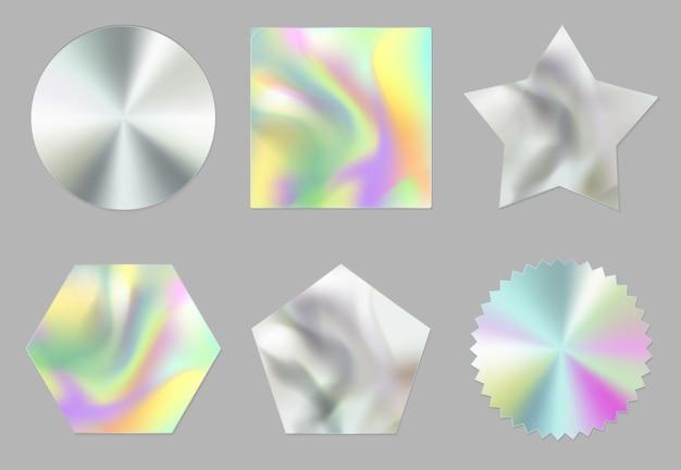 Голографические наклейки, голограммы, этикетки разной формы Бесплатные векторы