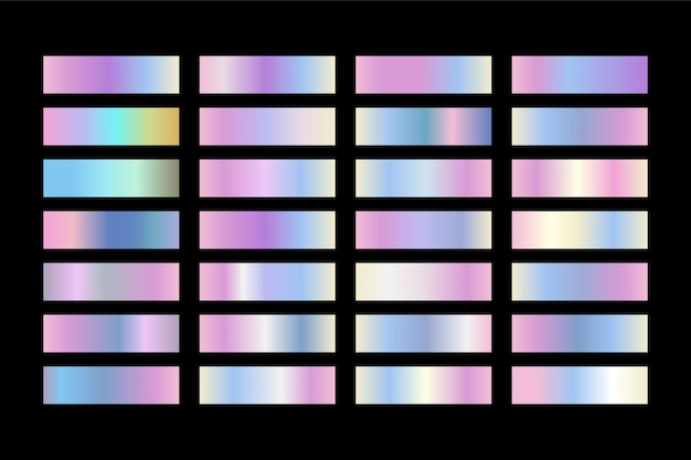 ホログラフィックテクスチャ。光沢のある金属箔グラデーションセット