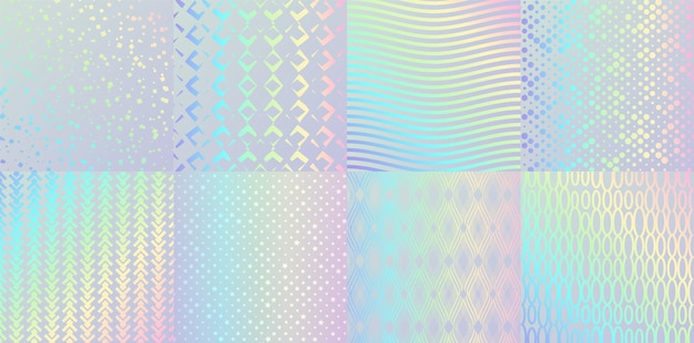 Holographic textures. glitter foil confetti and metal rainbow gradient, pink and blue retro design