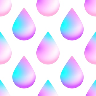 Holographic vector seamless background with holographic neon color drops.