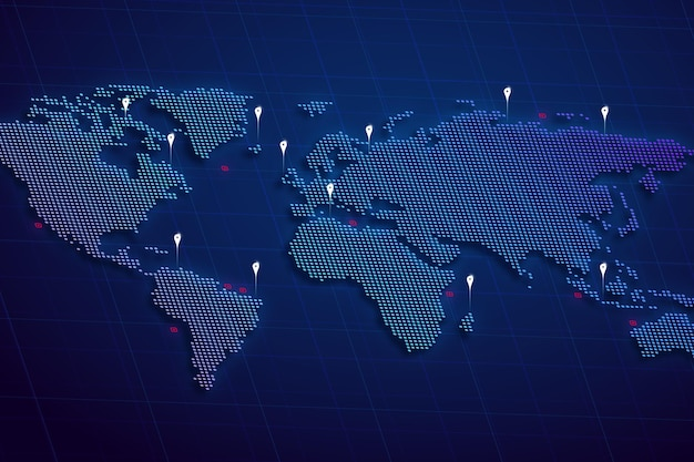 Holographic world map with pin map