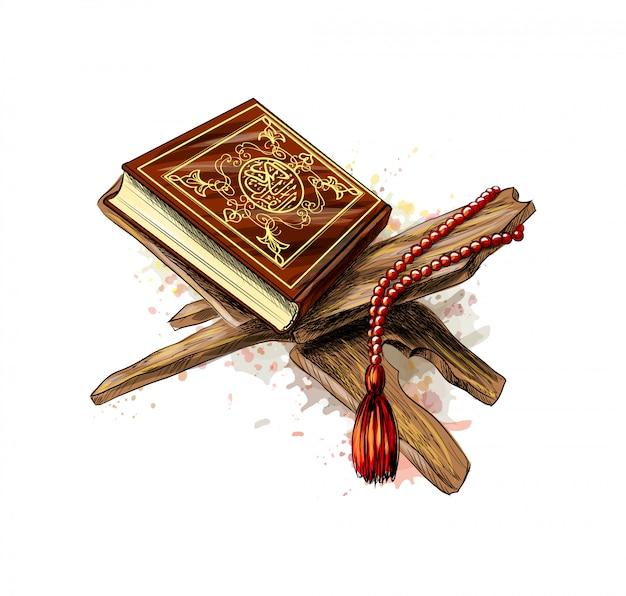 Священная книга корана с розарием из всплесков акварели. мусульманский праздник, ид мубарак, курбан-байрам, рамадан карим. ручной обращается эскиз. векторная иллюстрация красок