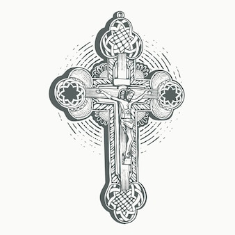 Holy christ cross with outline shape engraving