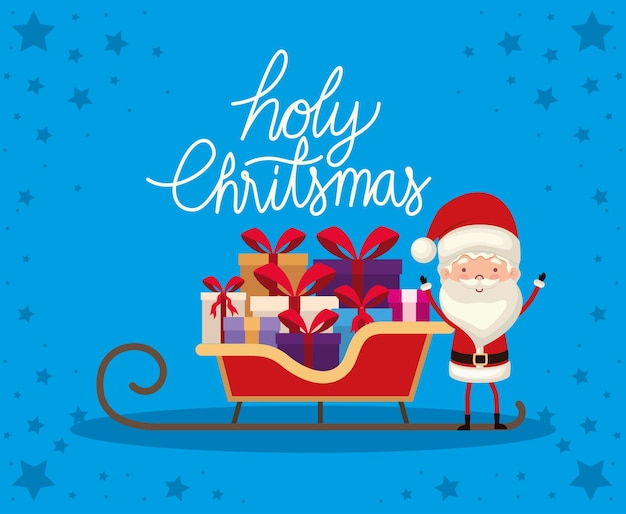 Holy christmas lettering with gift boxes of different colors and a red bow on a sleigh. Premium Vector