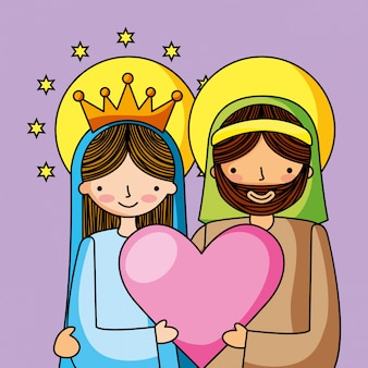 Holy family christian cartoons