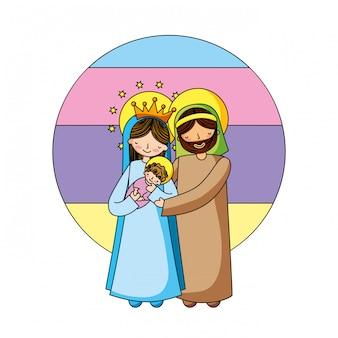 Holy family christian cartoons Premium Vector