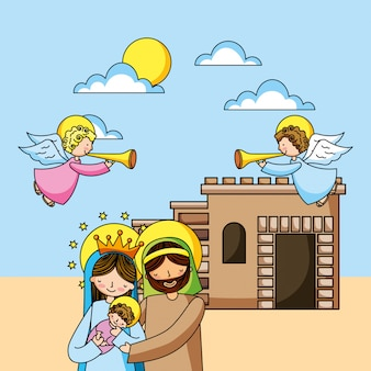 Holy family christian cartoons