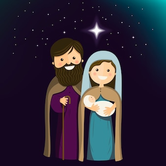Holy family on christmas eve. vector ilustration