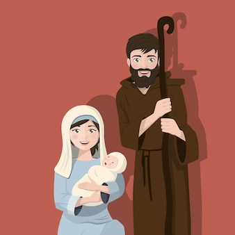 Holy family on a flat background. christmas nativity scene. birth of christ