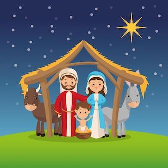 夜の背景に聖なる家族のアイコン Premiumベクター