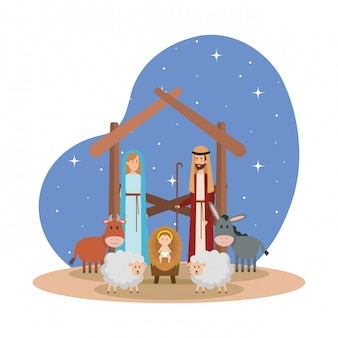 Holy family with animals manger characters