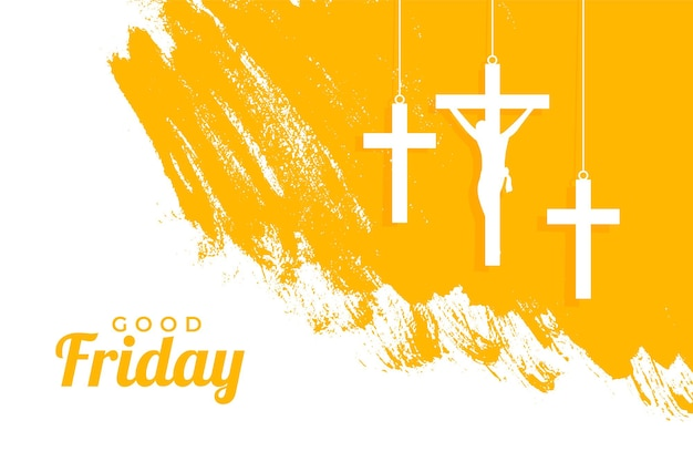 Holy good friday event with hanging crosses