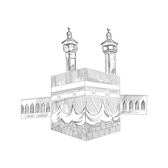 Holy kaaba in mecca saudi arabia with muslim people, vintage engraved illustration, hand drawn sketch