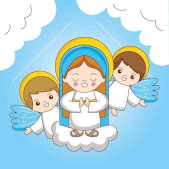 Holy mary and angel between sky. the assumption of the virgin mary to heaven, cartoon illustration