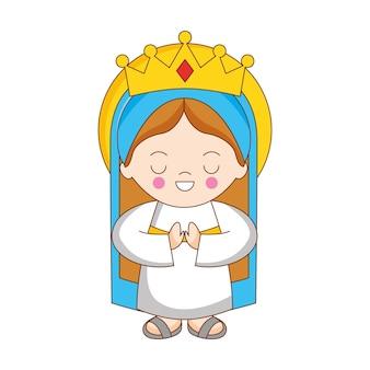 흰색 배경 위에 절연 거룩한 마리아 만화입니다. 벡터 일러스트 레이 션