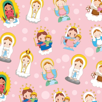 성모 마리아 만화 패턴 배경