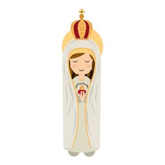 흰색 배경 벡터 일러스트 레이 션을 통해 거룩한 마리아 디자인