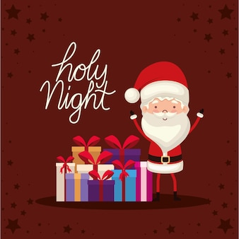 Holy night lettering with one santa claus.