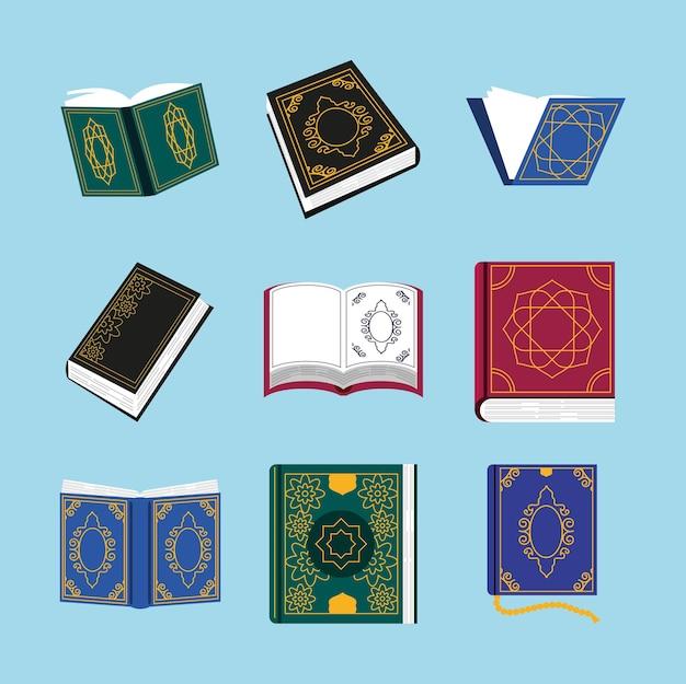 Holy quran sacred religious set