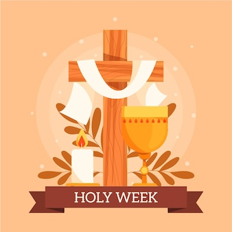 Holy week illustration with cross