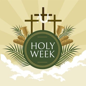 Holy week illustration with crosses