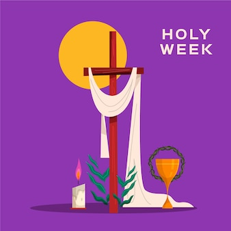 Holy week illustration with wooden cross