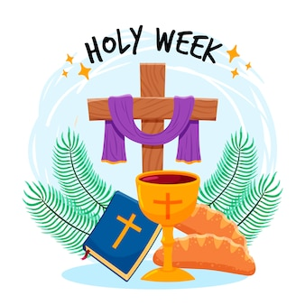 Holy week with cross and wine