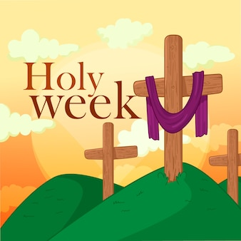 Holy week with crosses