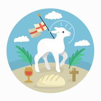 Holy week with lamb and bread Free Vector