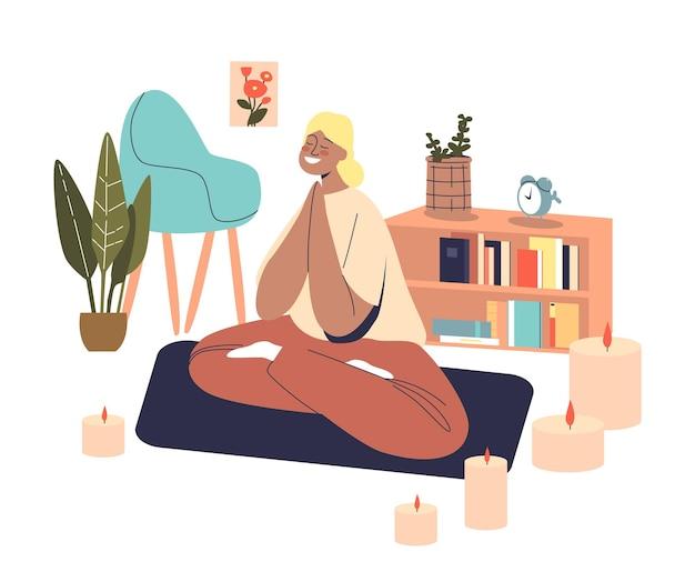 집에서 homan 연습 명상. 요가 선 연꽃 포즈에 앉아 편안한 젊은 여성