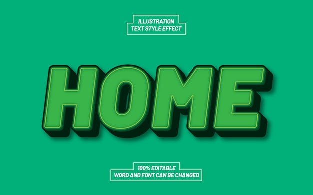 Home 3d bold text style effect