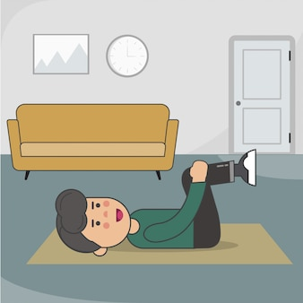 At home abdominal and oblique exercises Premium Vector